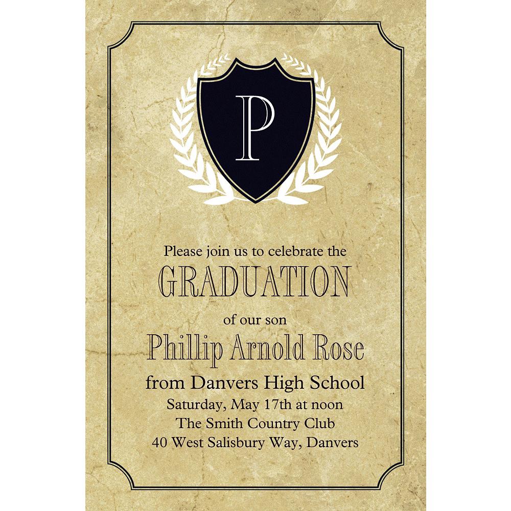 Custom Gold Stone Initial Graduation Invitation  Image #1