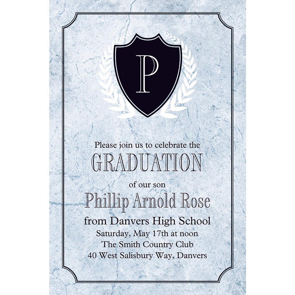 Custom Silver Stone Initial Graduation Invitation  Image #1