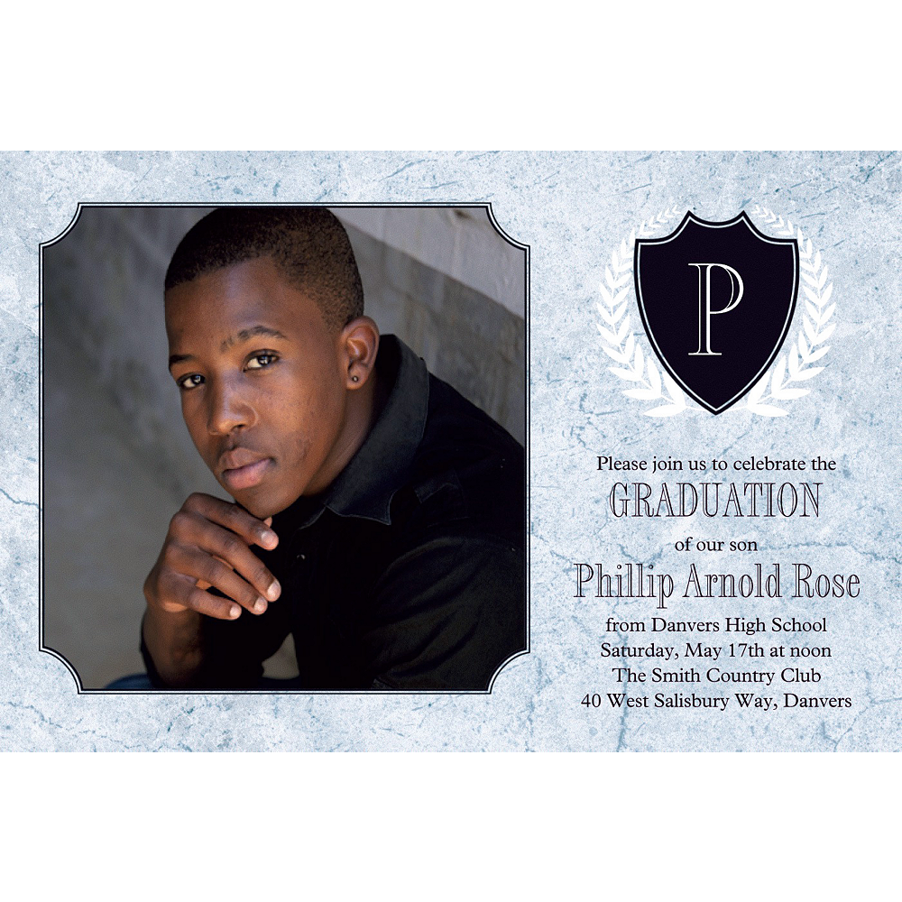 Custom Silver Stone Initial Graduation Photo Invitation     Image #1