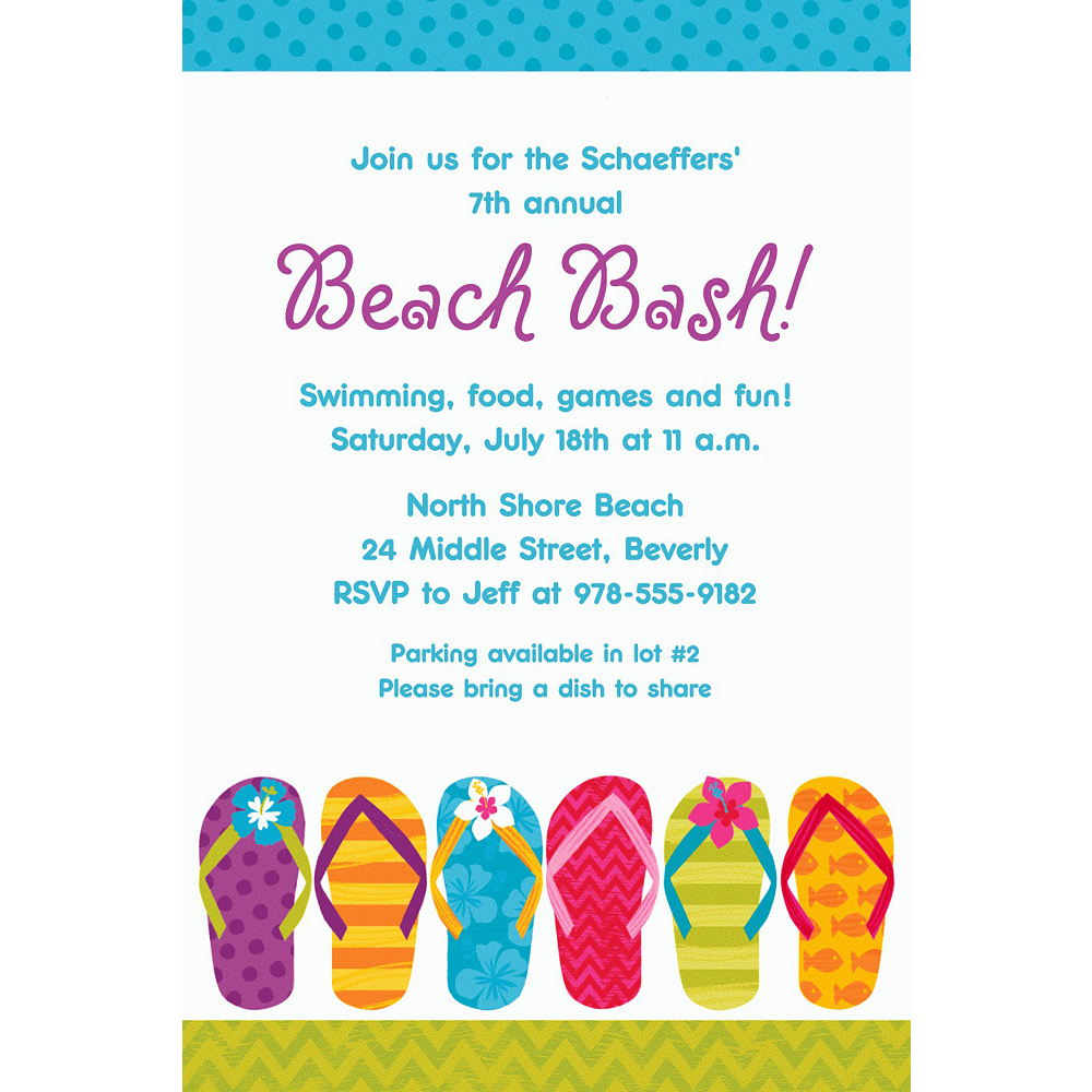 Custom Bright Flip Flop Invitation Personalized Holiday