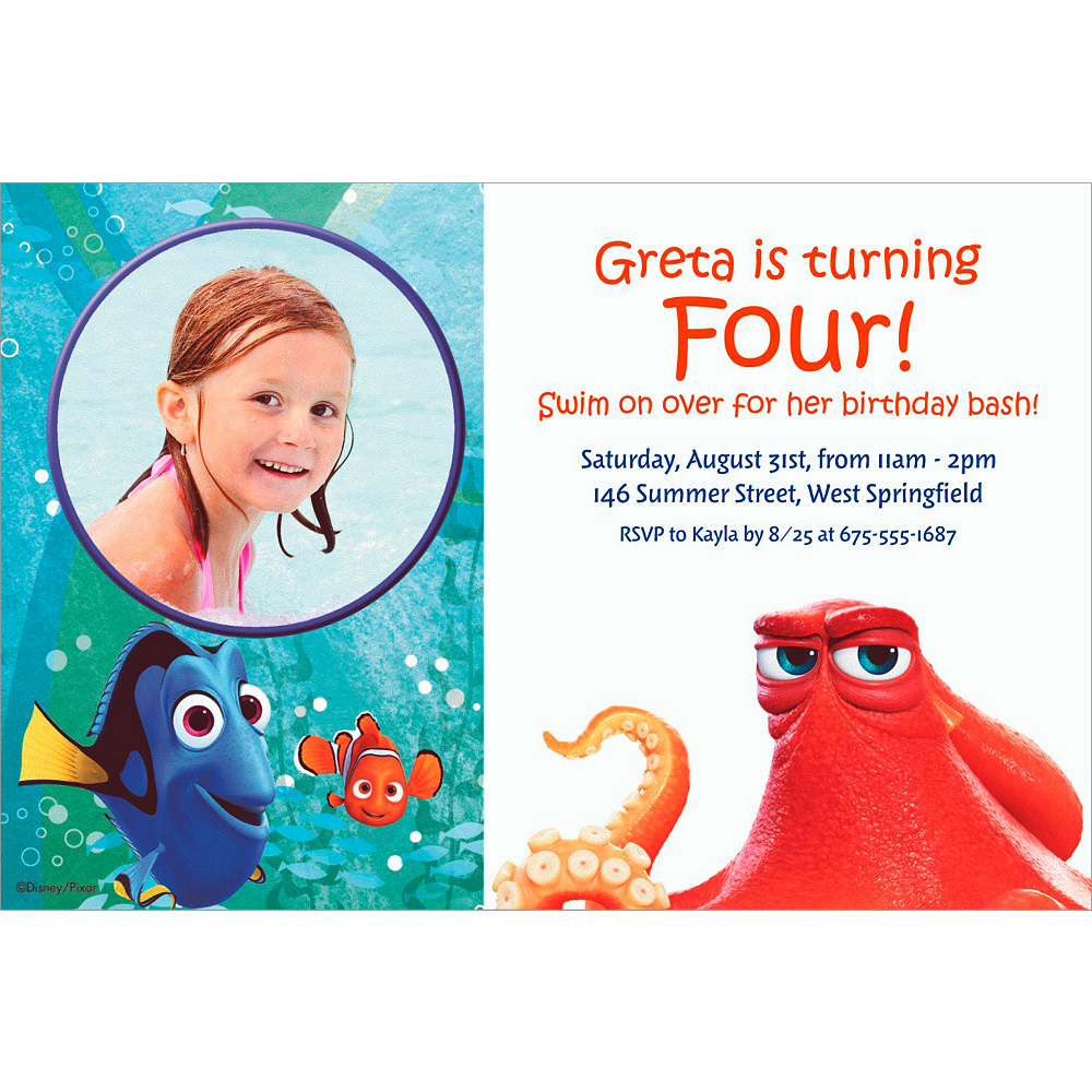 Custom Finding Dory Photo Invitation Image #1