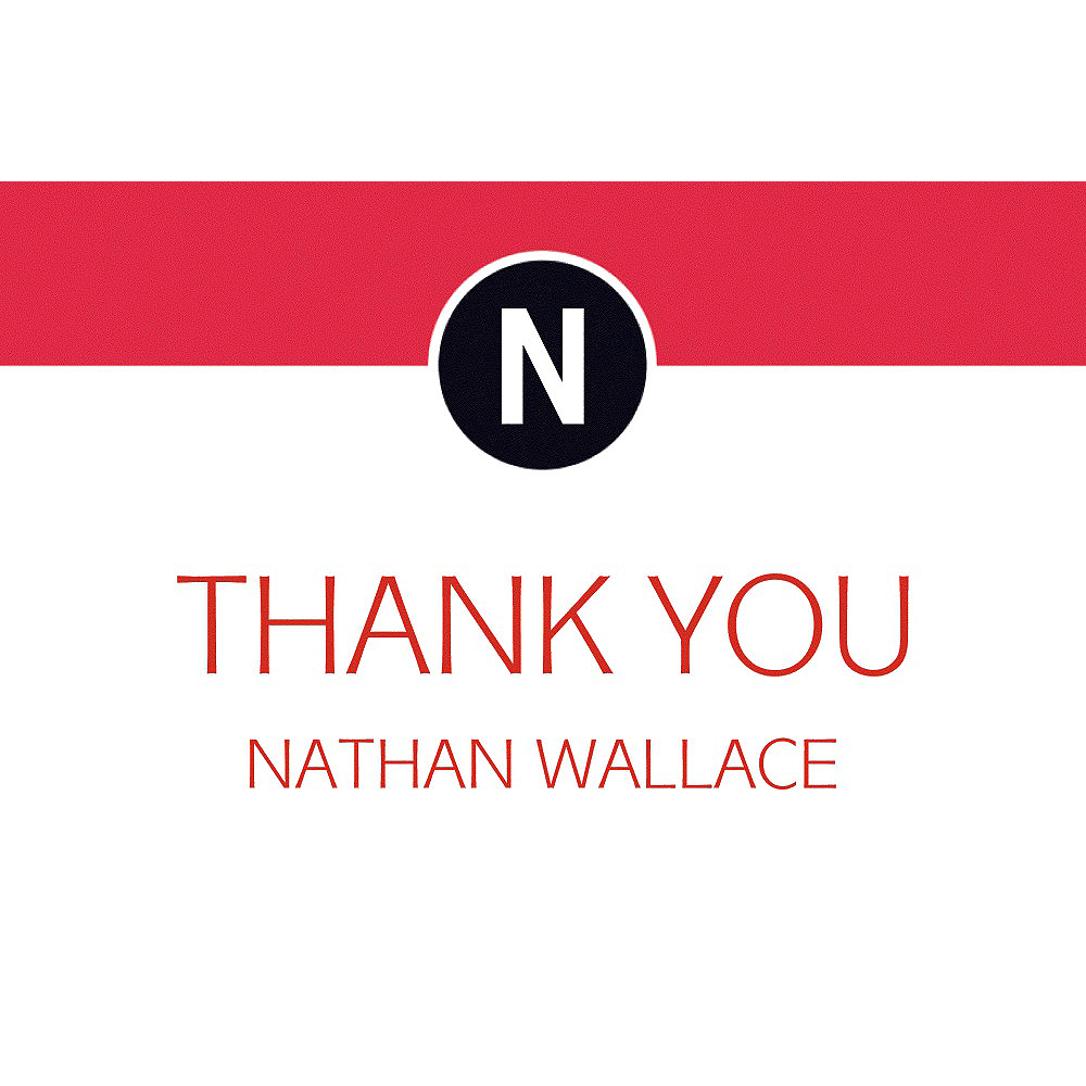 Custom Red Block Initial Graduation Thank You Note  Image #1