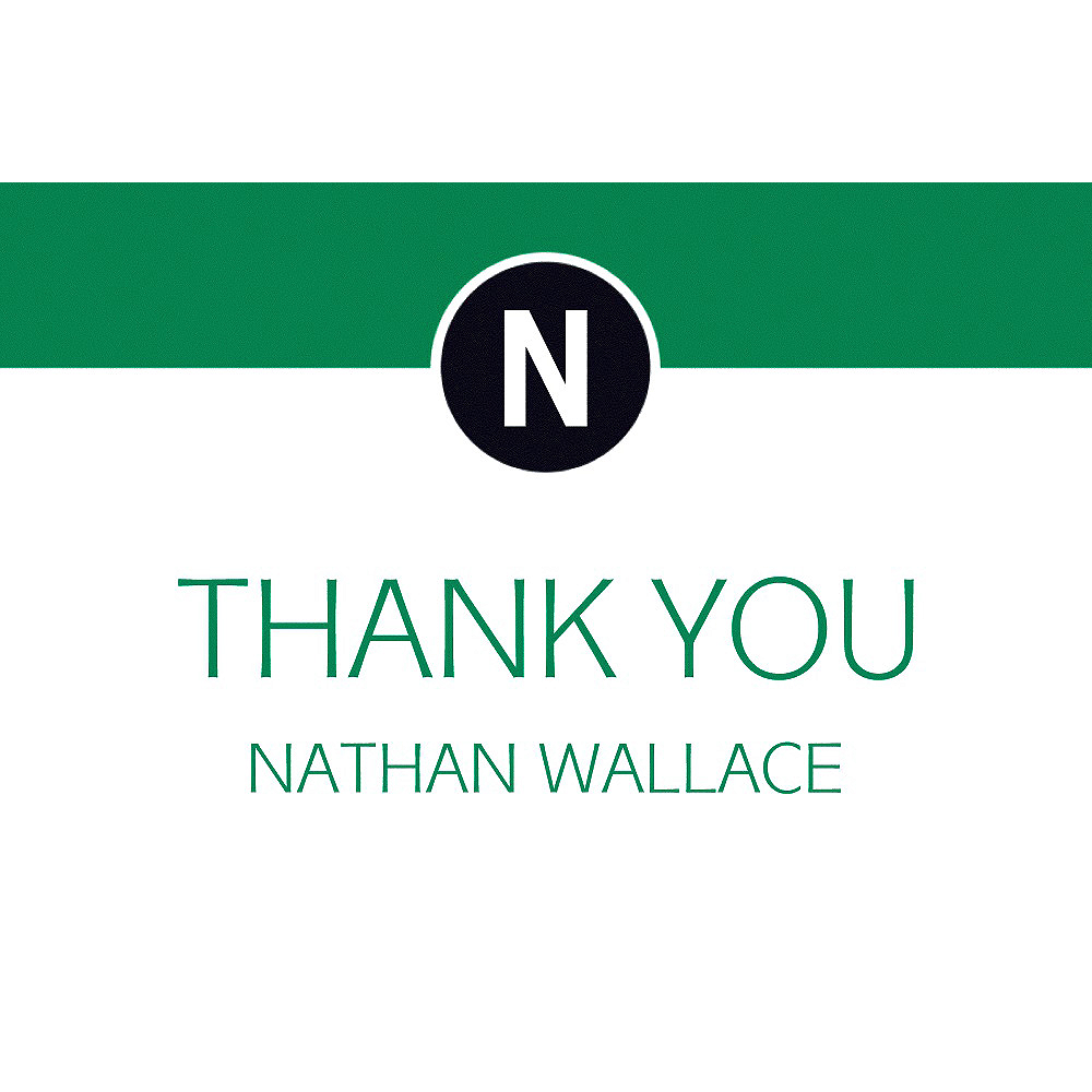 Custom Green Block Initial Graduation Thank You Note    Image #1