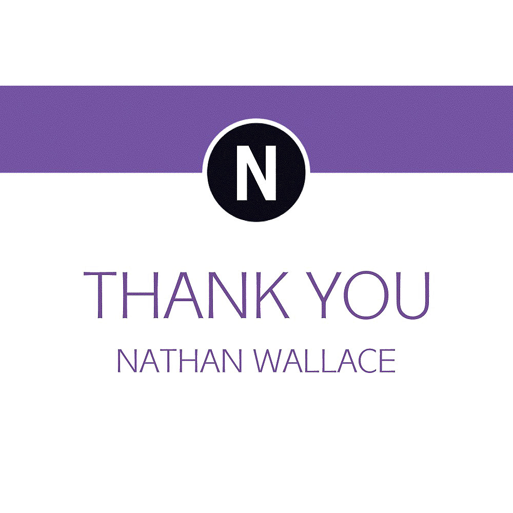 Custom Purple Block Initial Graduation Thank You Note    Image #1