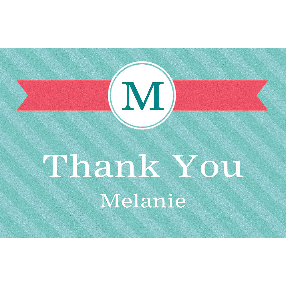 Custom Teal & Pink Initial Graduation Thank You Note    Image #1