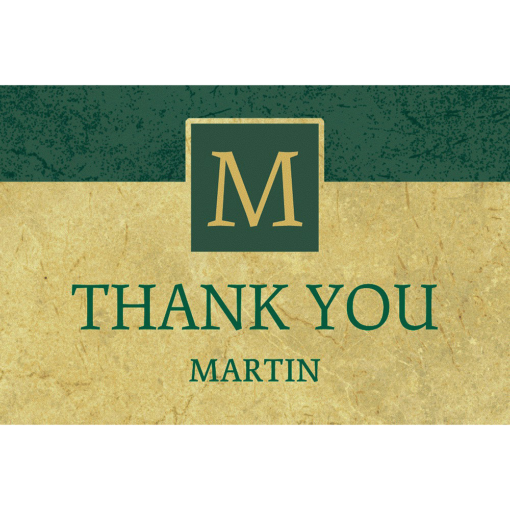 Custom Gold & Green Textured Graduation Thank You Note  Image #1