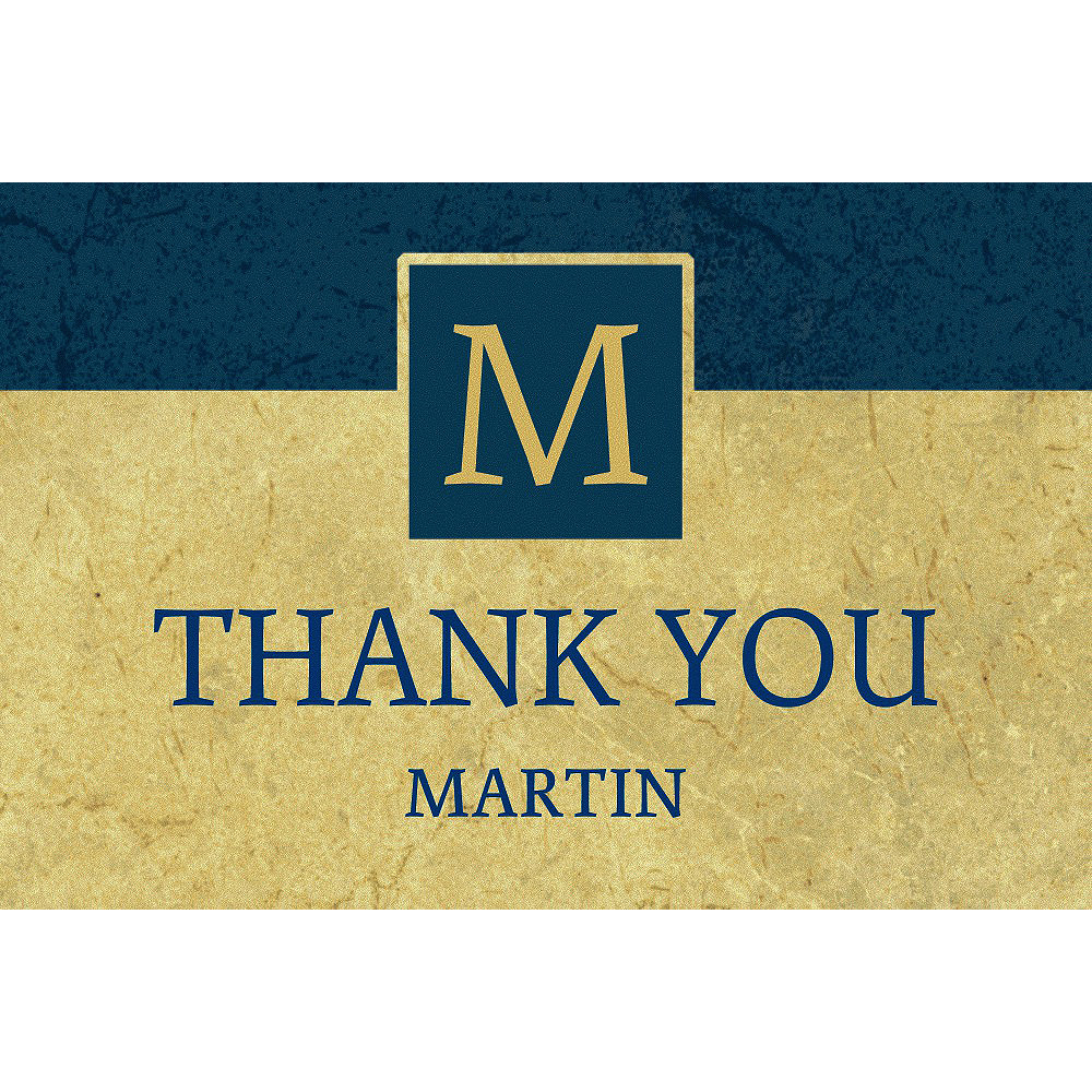 Custom Gold & Navy Textured Graduation Thank You Note  Image #1