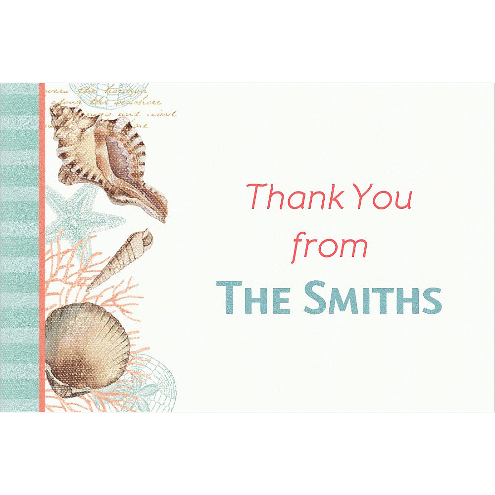 Custom By the Sea Seashell Thank You Note Image #1