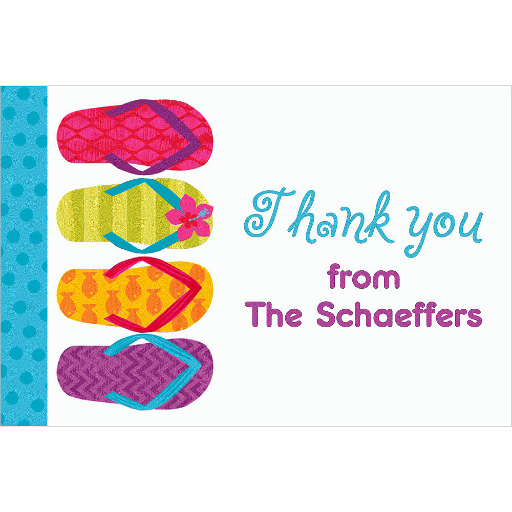 Custom Bright Flip Flop Thank You Note Image #1