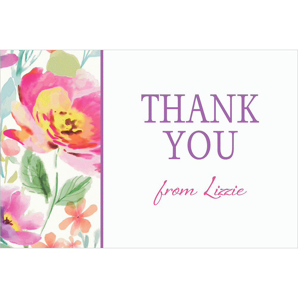 Custom Watercolor Poppy Thank You Note Image #1