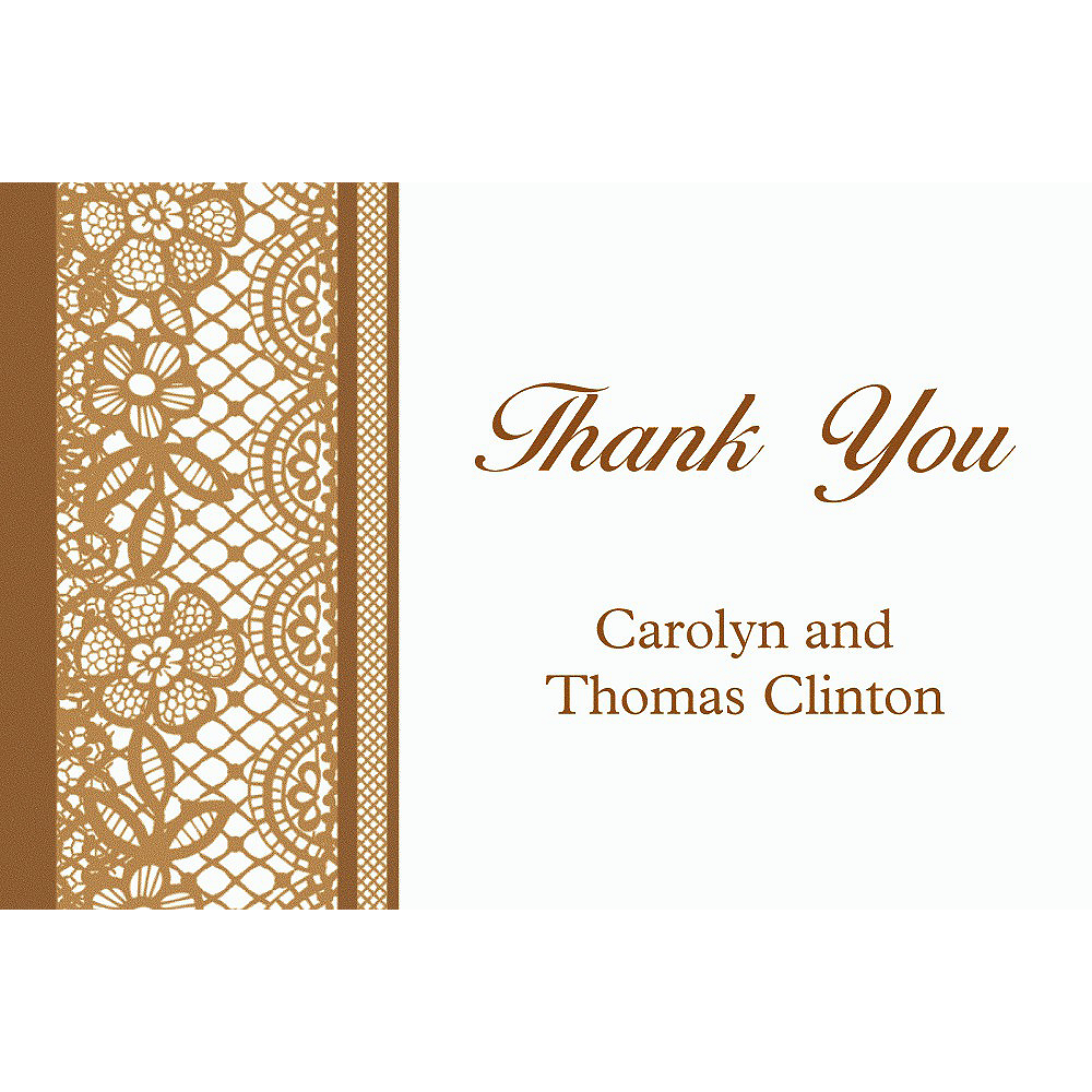 Custom Delicate Gold Lace Thank You Note Image #1