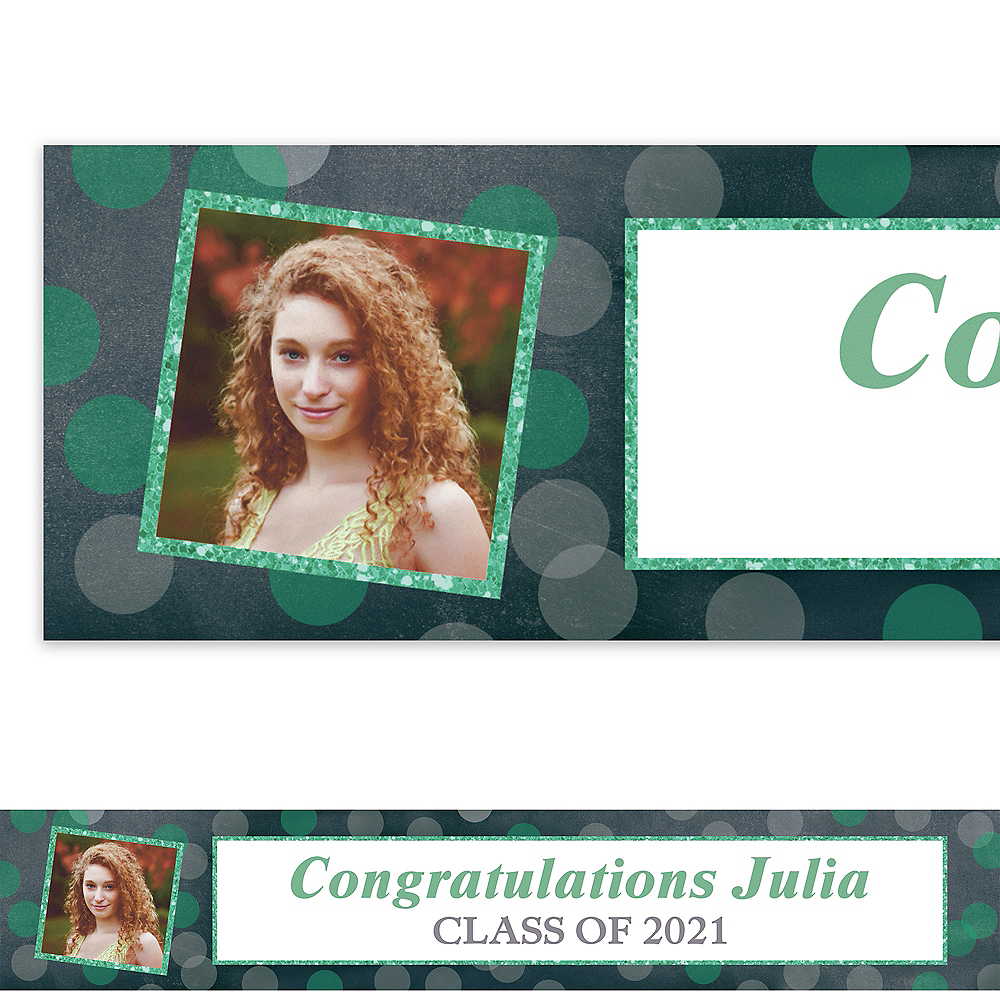 Custom Glitter Mint Frames & Dots Graduation Photo Banner  Image #1