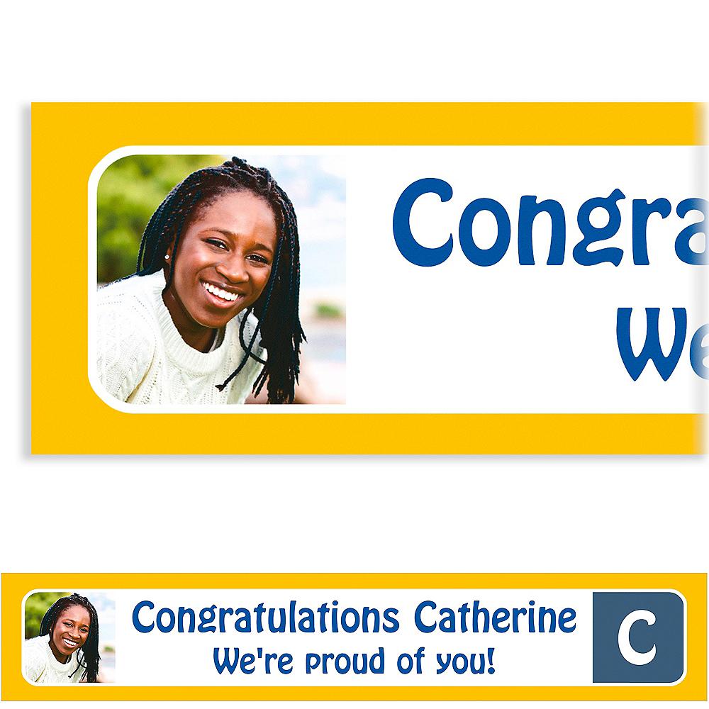 Custom Gold Color Block Initial Graduation Photo Banner  Image #1