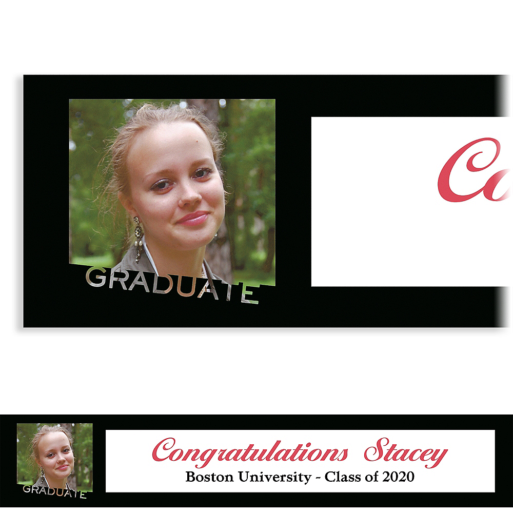 Custom Graduate White Slant Photo Banner Image #1