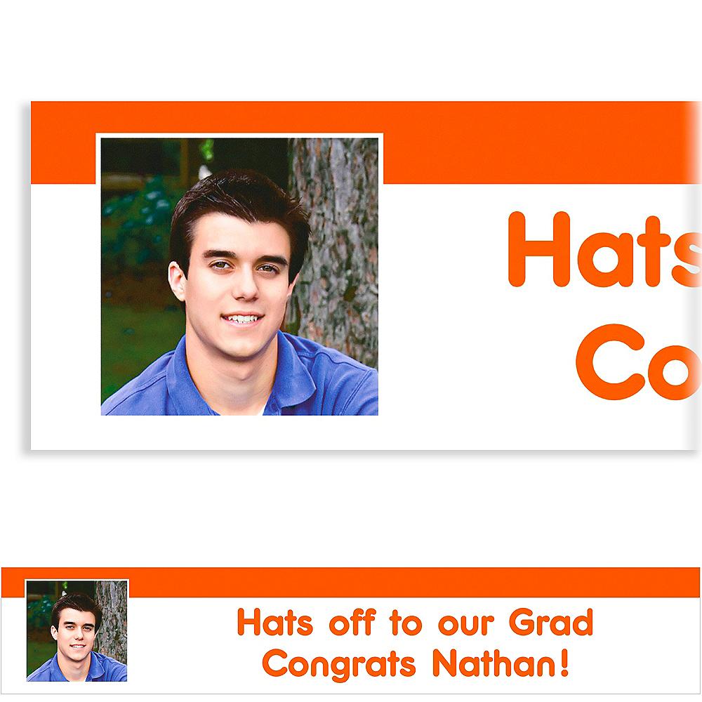 Custom Orange Block Initial Graduation Photo Banner Image #1
