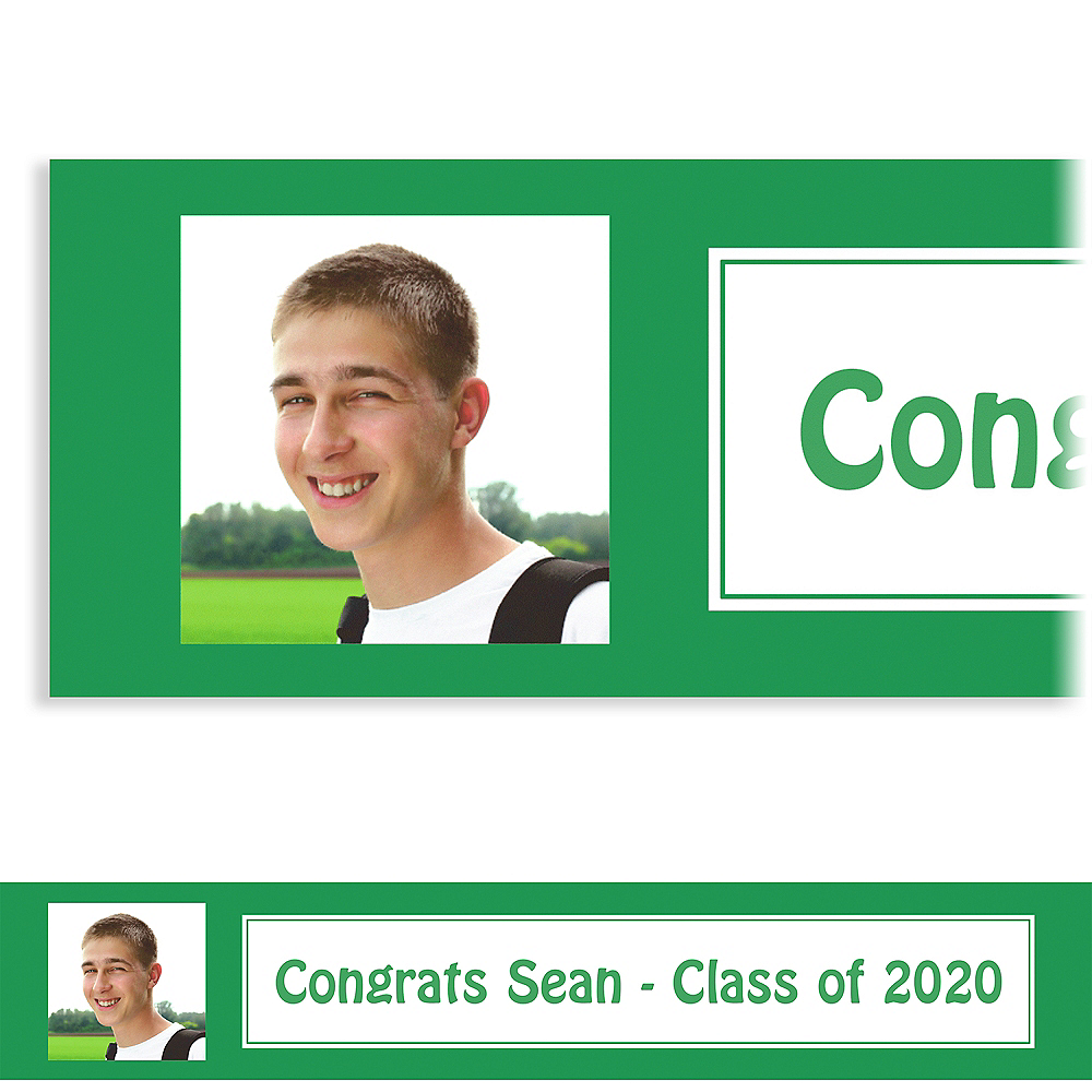 Custom Classic Green Graduation Photo Banner    Image #1