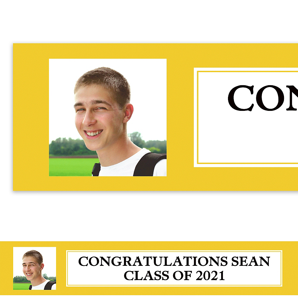 Custom Classic Yellow Graduation Photo Banner  Image #1