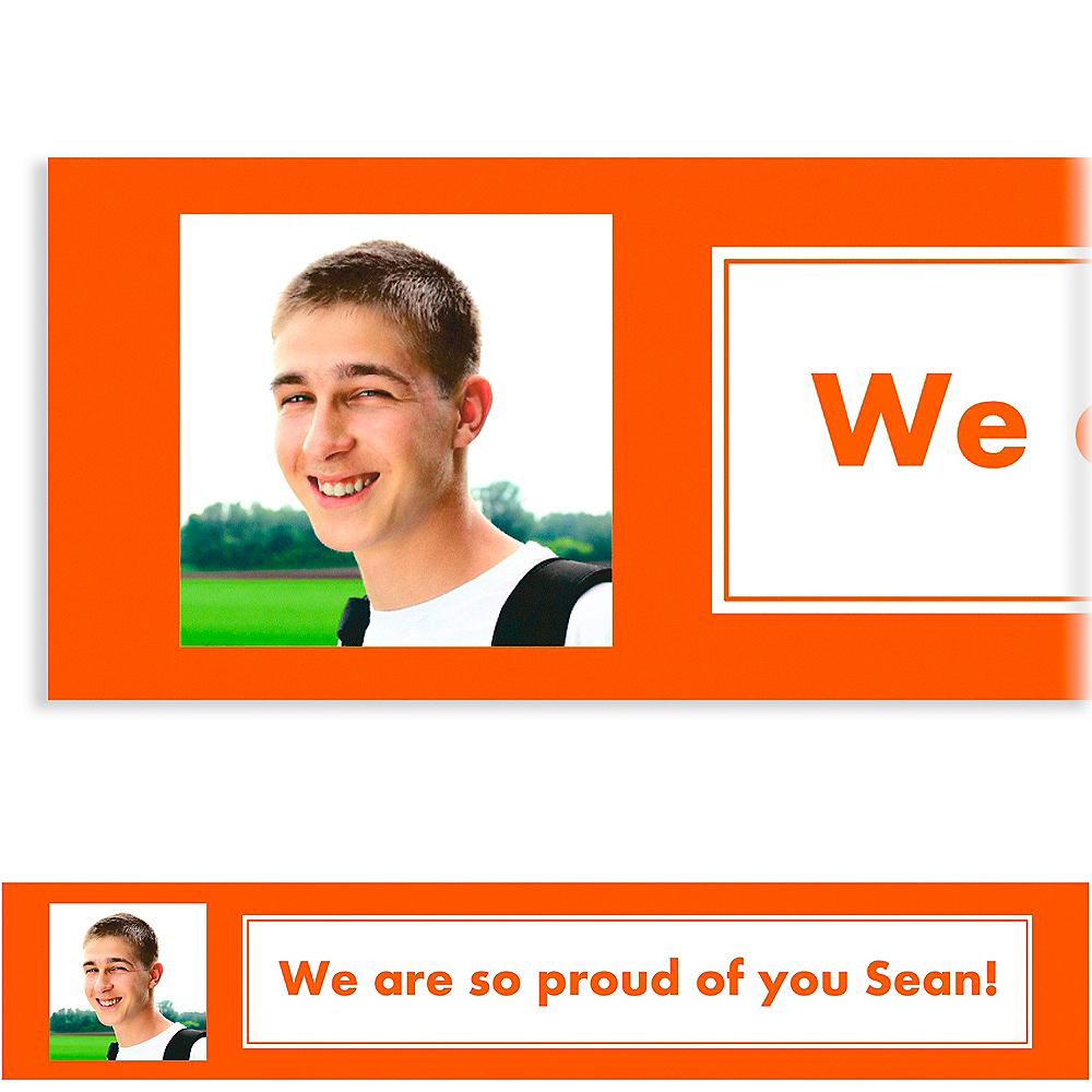 Custom Classic Orange Graduation Photo Banner    Image #1