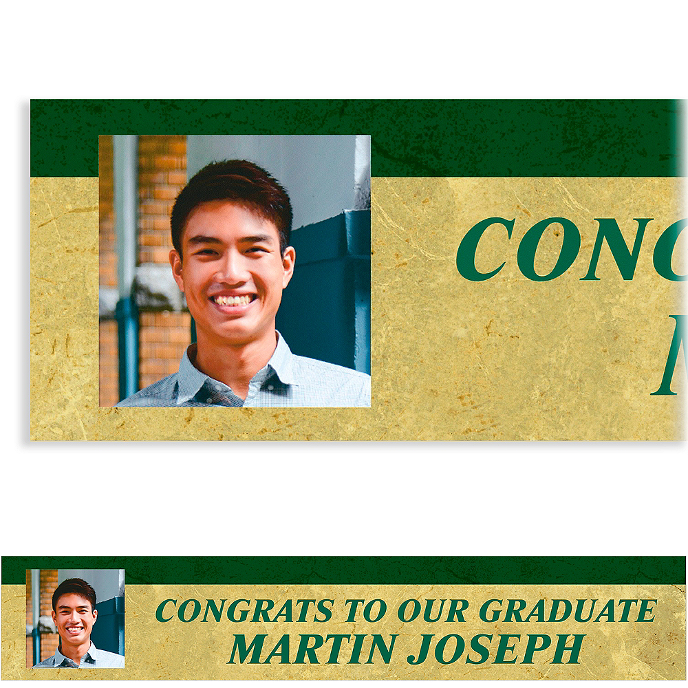 Custom Gold & Green Textured Graduation Photo Banner    Image #1