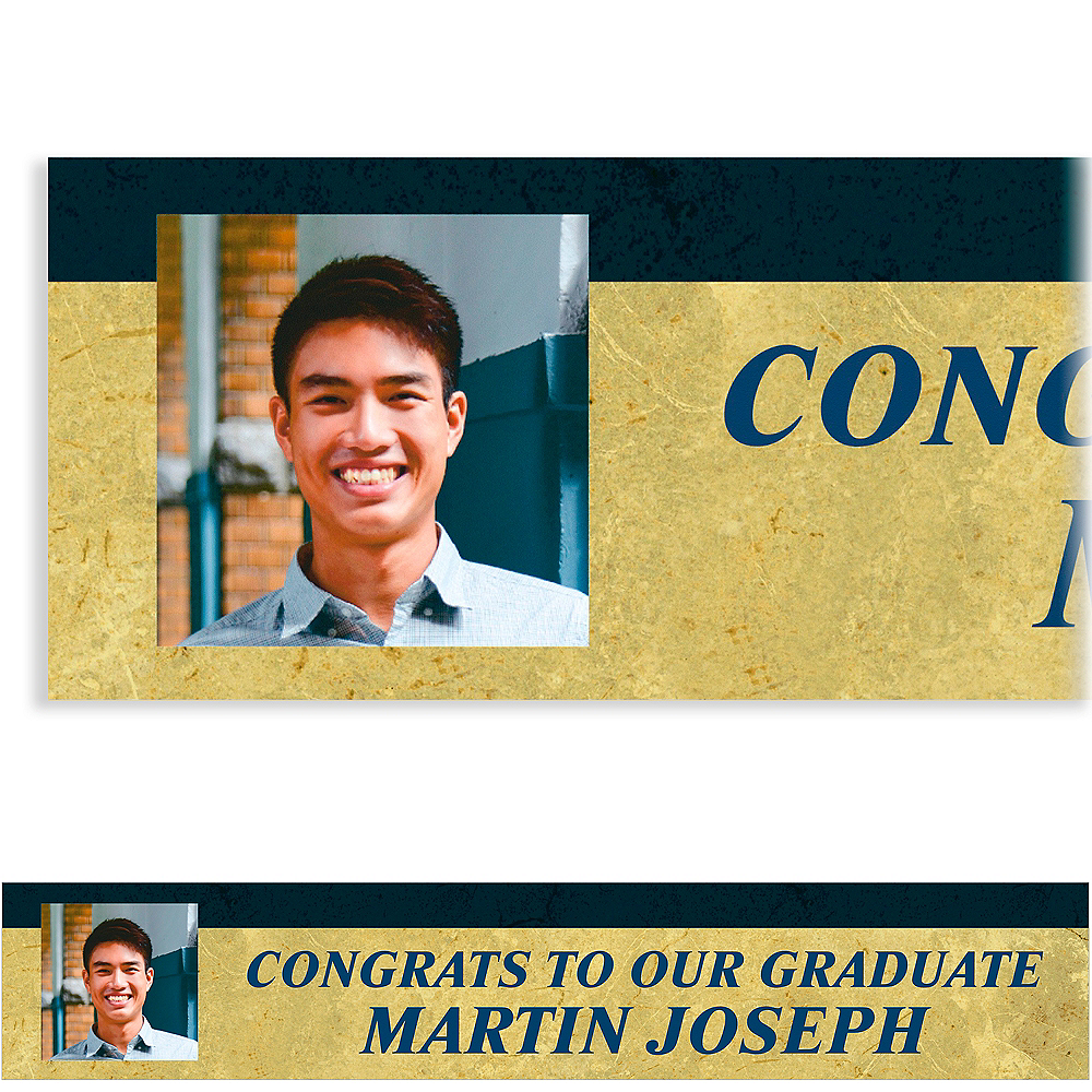 Custom Gold & Navy Textured Graduation Photo Banner    Image #1