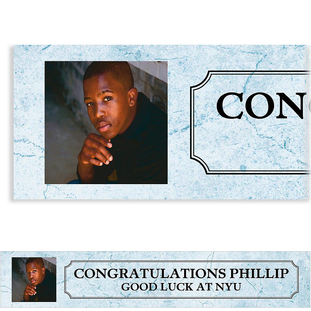 Custom Silver Stone Initial Graduation Photo Banner  Image #1