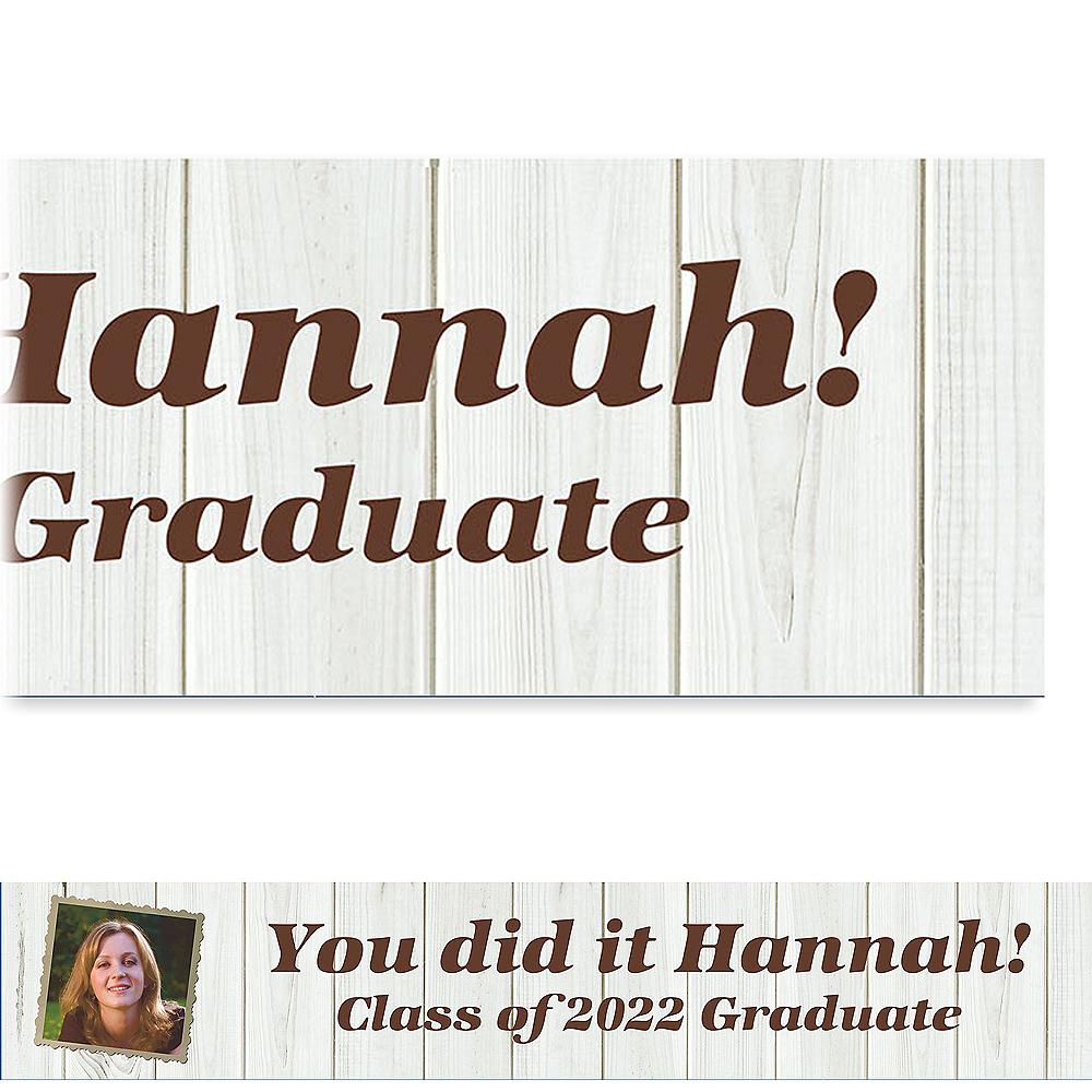 Custom White Wood Graduation Photo Banner  Image #1