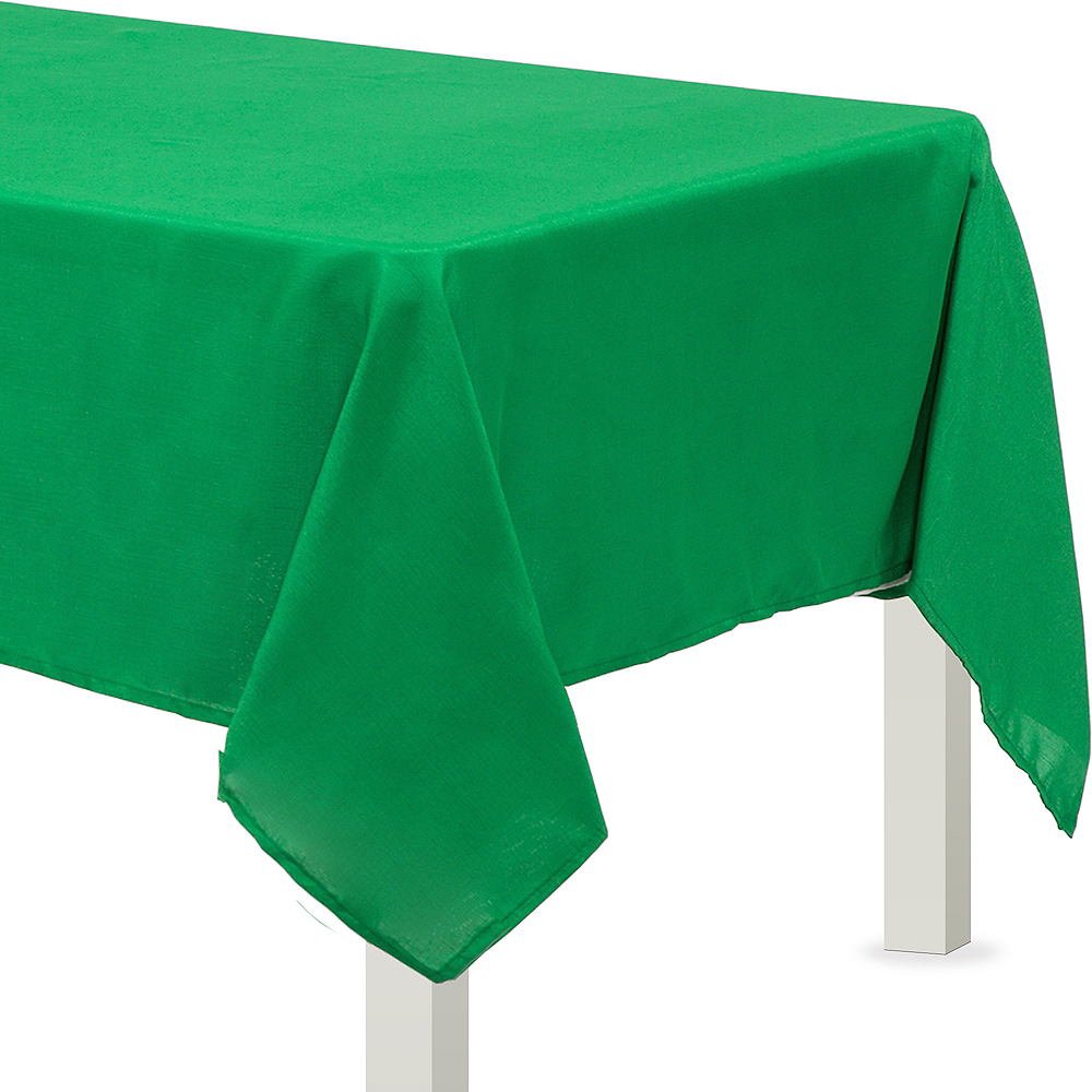 Festive Green Fabric Tablecloth Image #1
