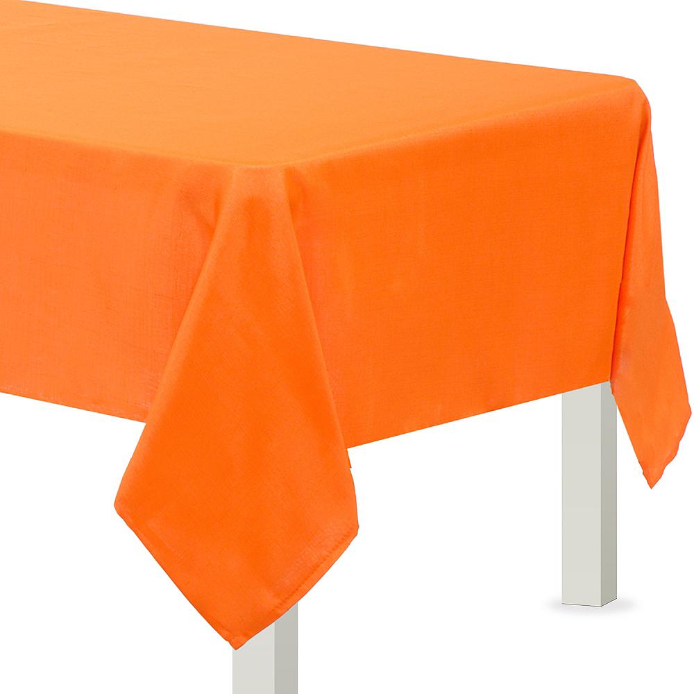 Party City Cloth Table Covers: Orange Fabric Tablecloth 60in X 84in