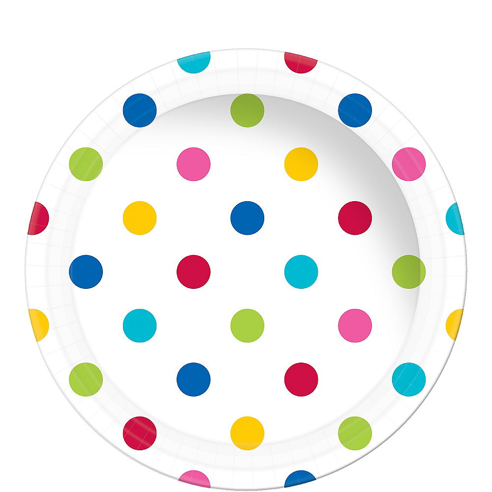 Bright Rainbow Polka Dot Paper Lunch Plates 8ct Image #1
