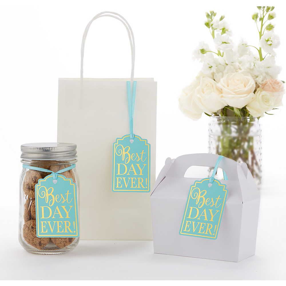 Robin's Egg Blue Best Day Ever Favor Tags 25ct Image #1