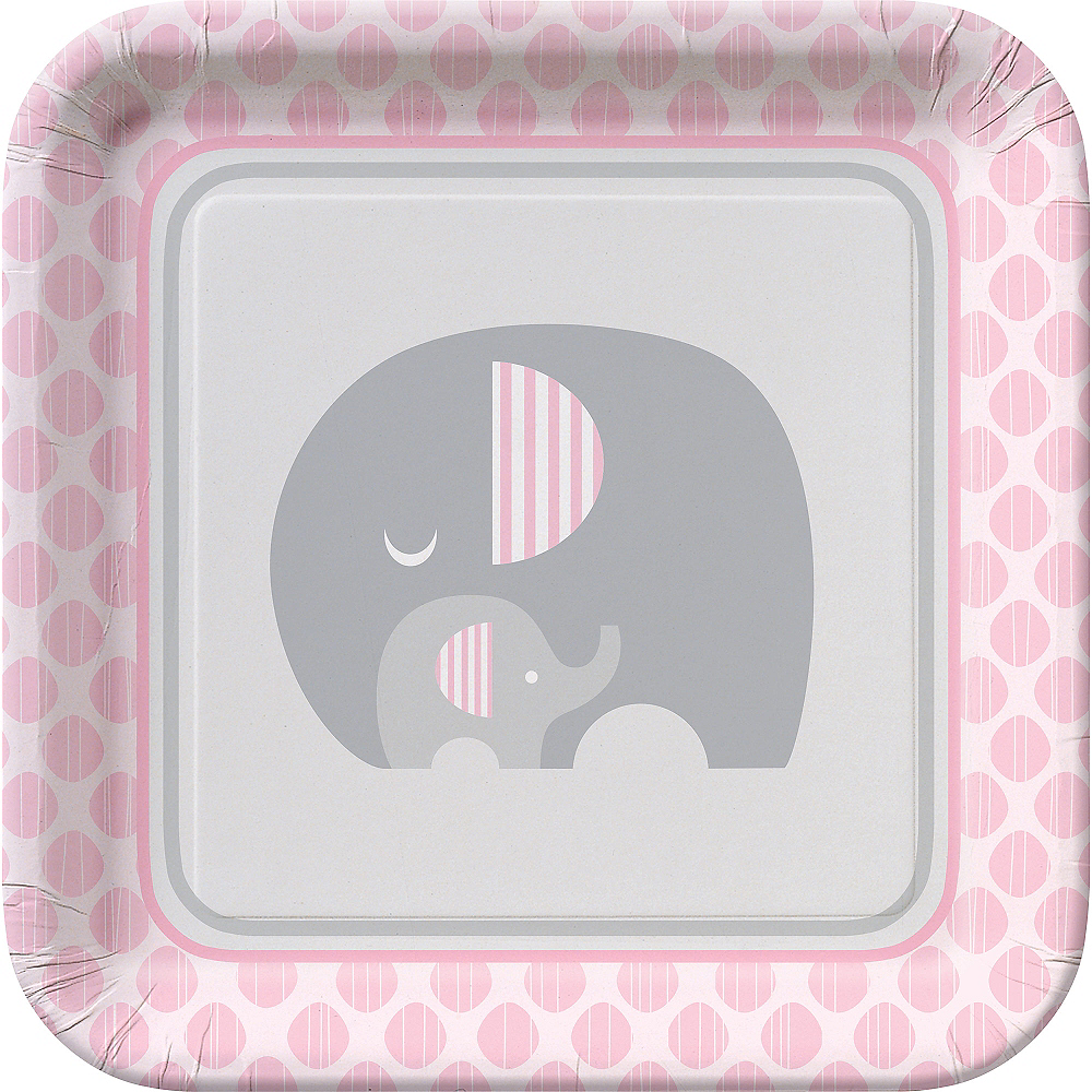 Pink Baby Elephant Lunch Plates 8ct Image #1