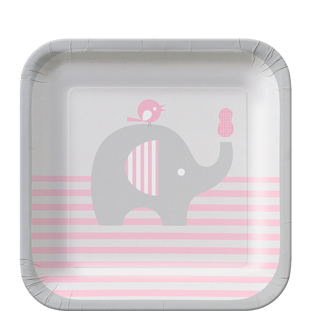 Nav Item for Pink Baby Elephant Dessert Plates 8ct Image #1