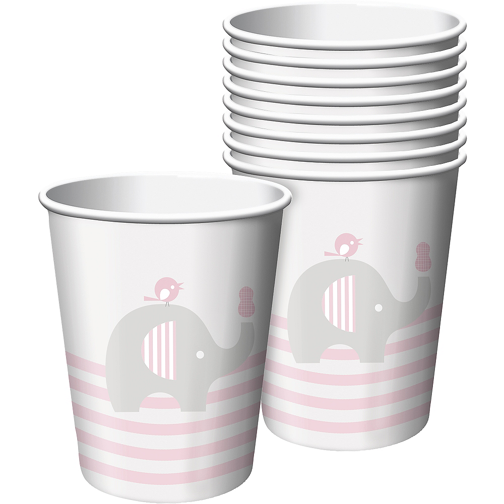 Nav Item for Pink Baby Elephant Paper Cups 8ct Image #1
