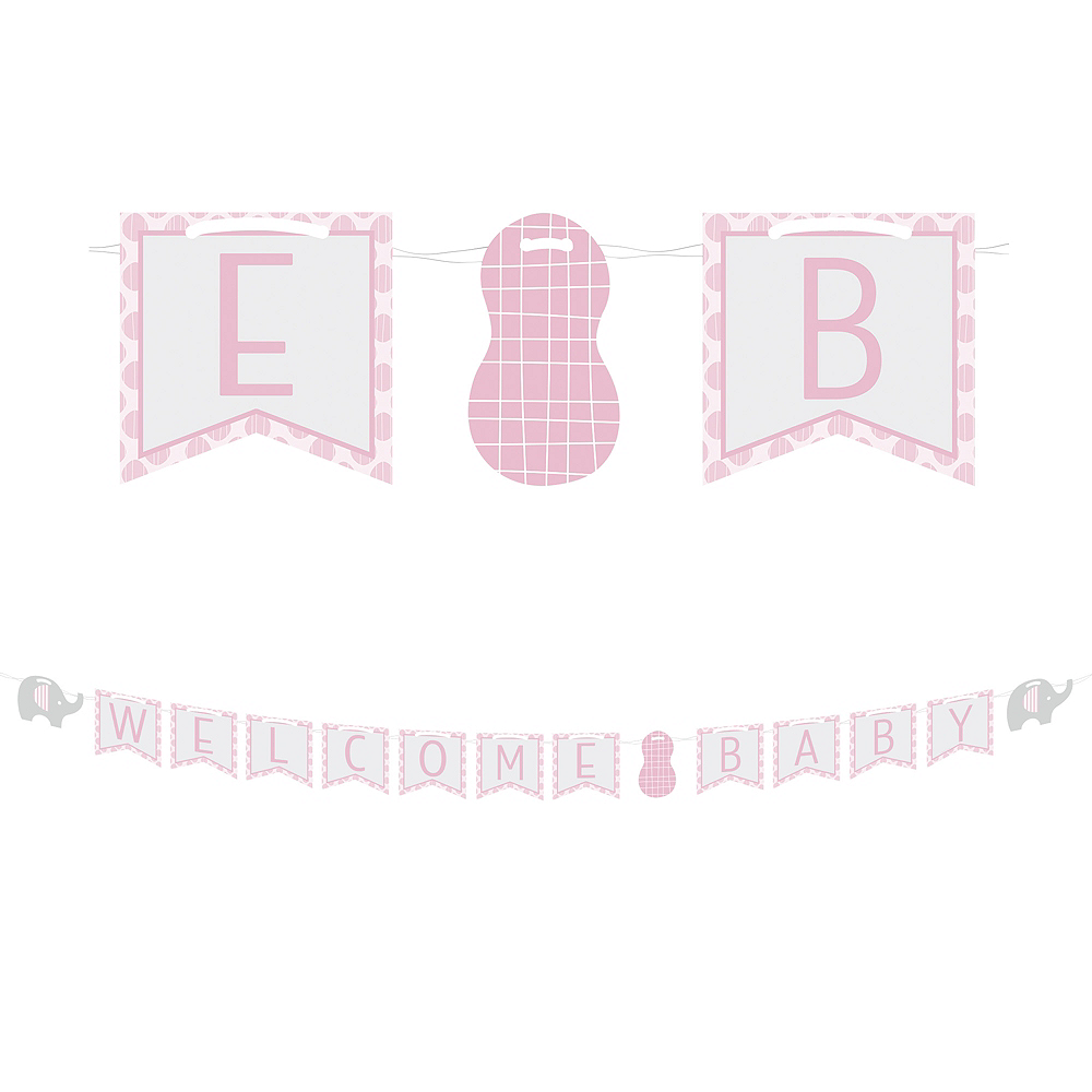 Pink Baby Elephant Letter Banner Image #1