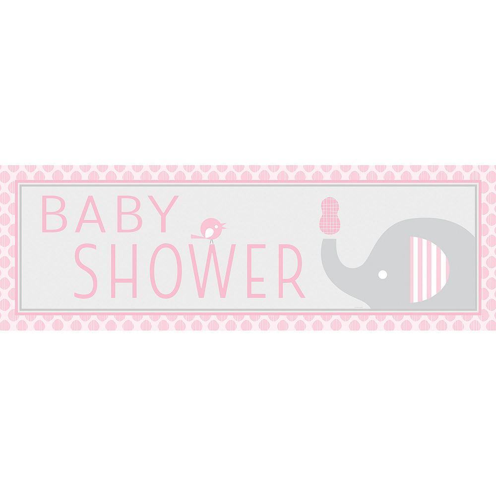 Giant Pink Baby Elephant Baby Shower Banner 60in X 20in Party City
