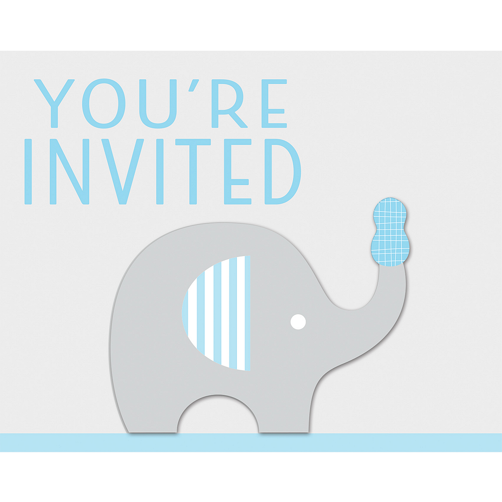 Nav Item for Blue Baby Elephant Invitations 8ct Image #1