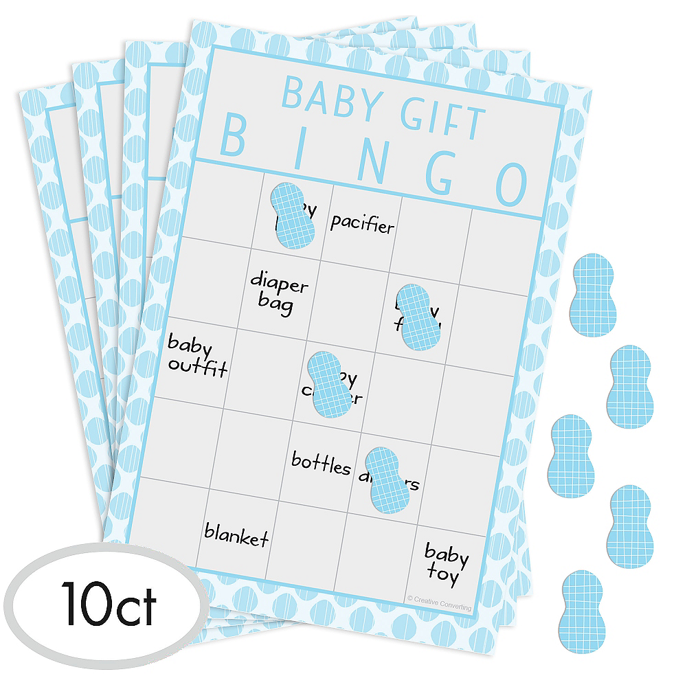Blue Baby Elephant Baby Shower Bingo Game Image #1