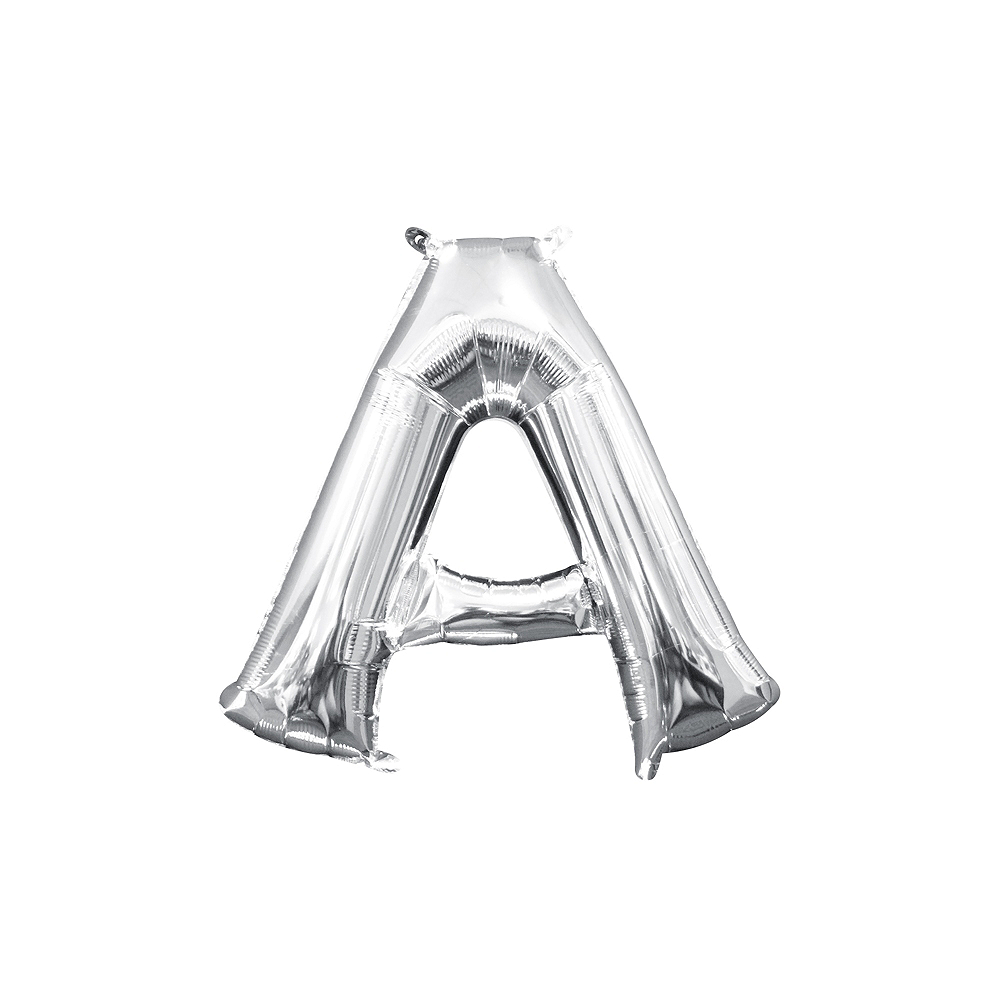 13in Air-Filled Silver Letter Balloon (A) Image #1