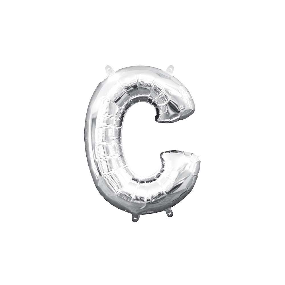 13in Air-Filled Silver Letter Balloon (C) Image #1