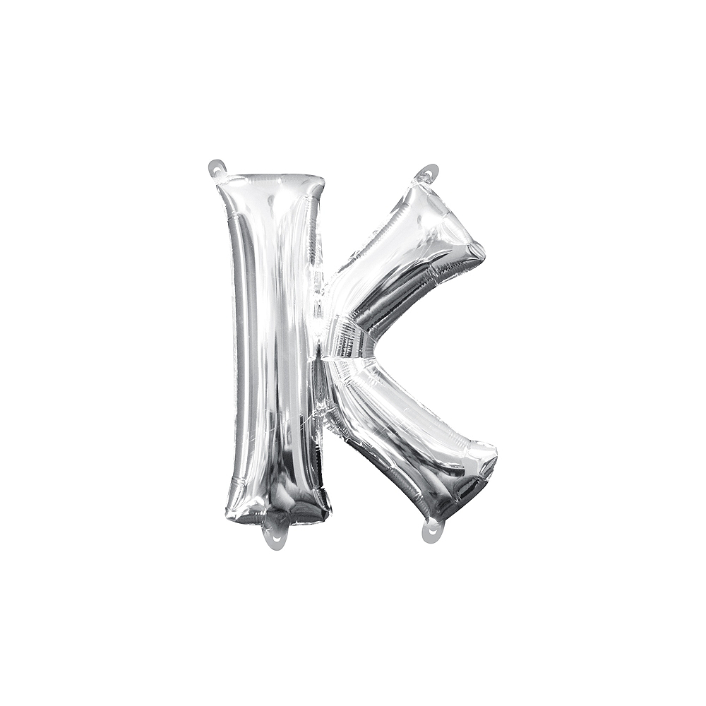 13in Air-Filled Silver Letter Balloon (K) Image #1