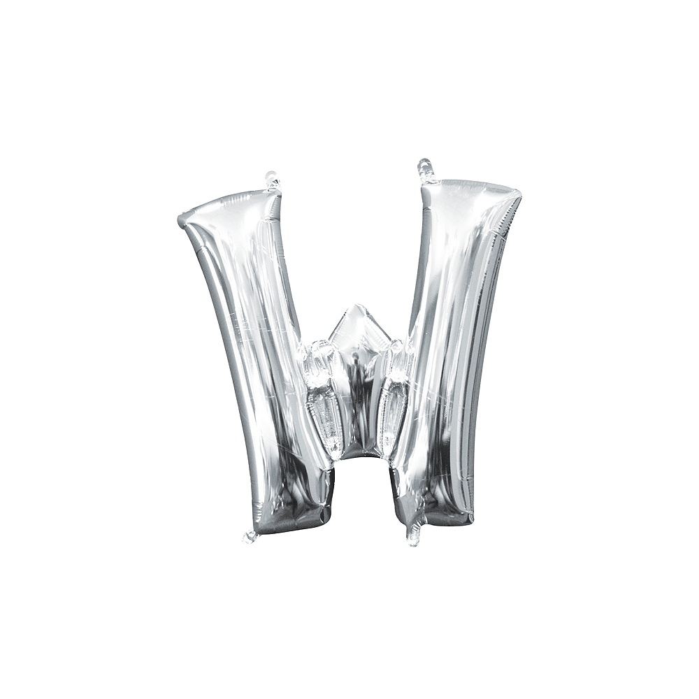 13in Air-Filled Silver Letter Balloon (W) Image #1