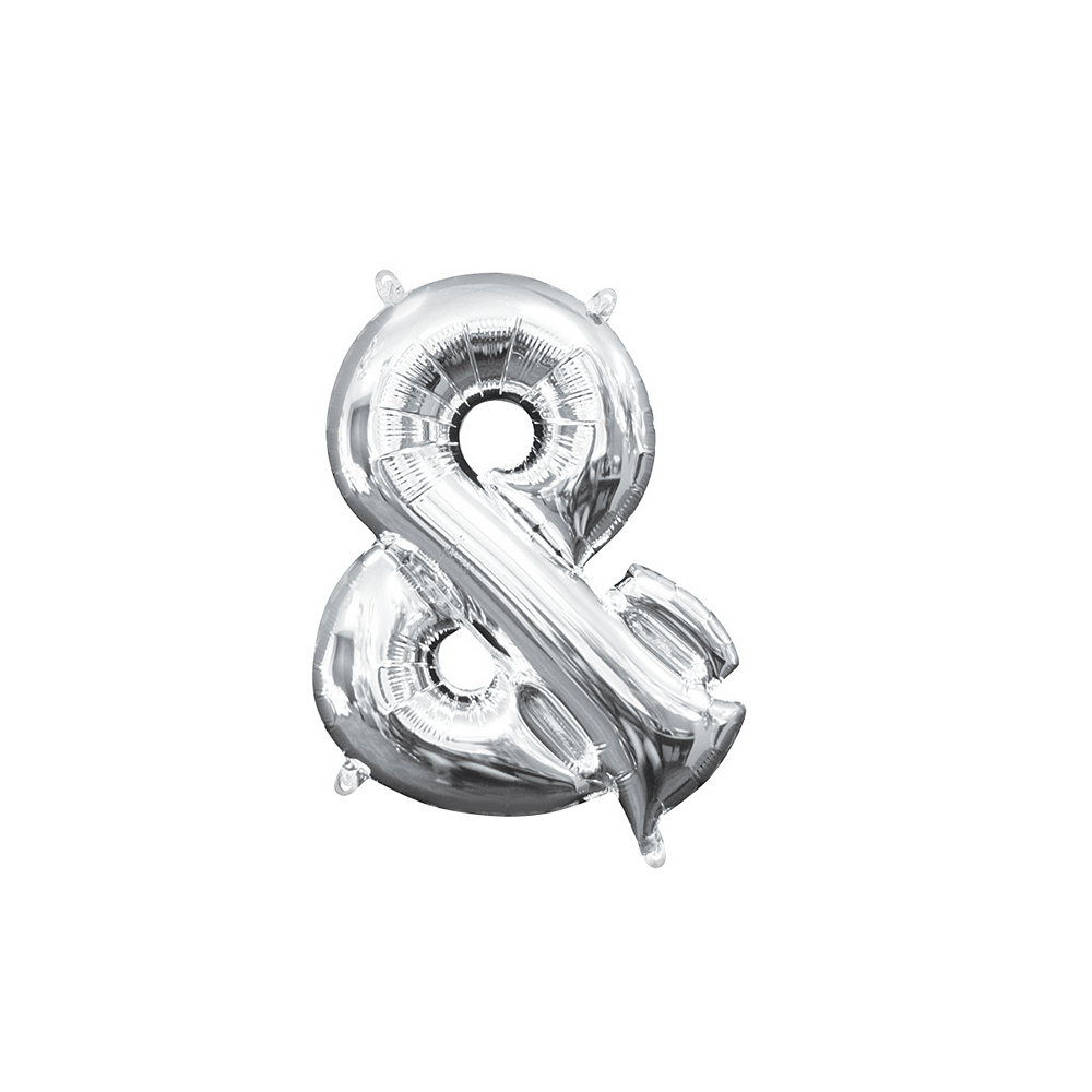 Air-Filled Silver Ampersand Balloon, 14in Image #1