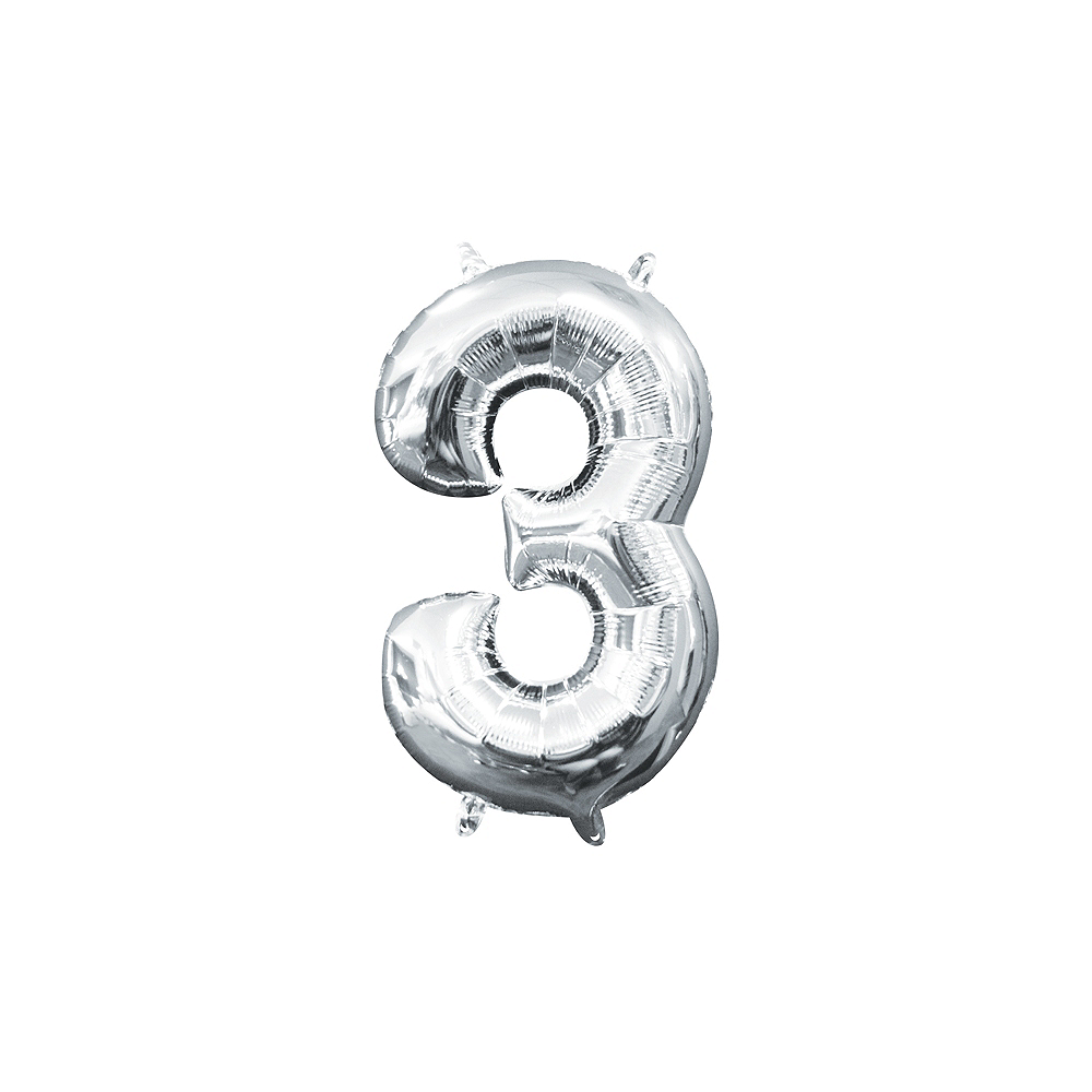 13in Air-Filled Silver Number Balloon (3) Image #1