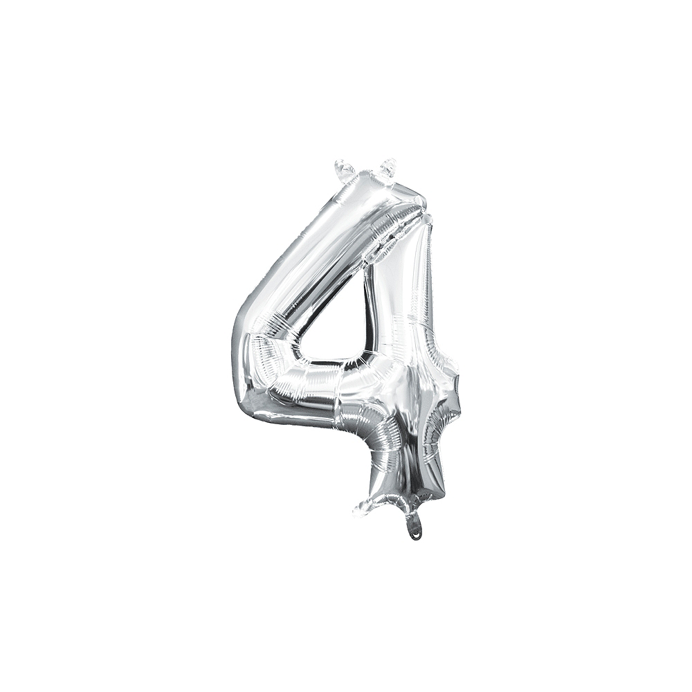 13in Air-Filled Silver Number Balloon (4) Image #1