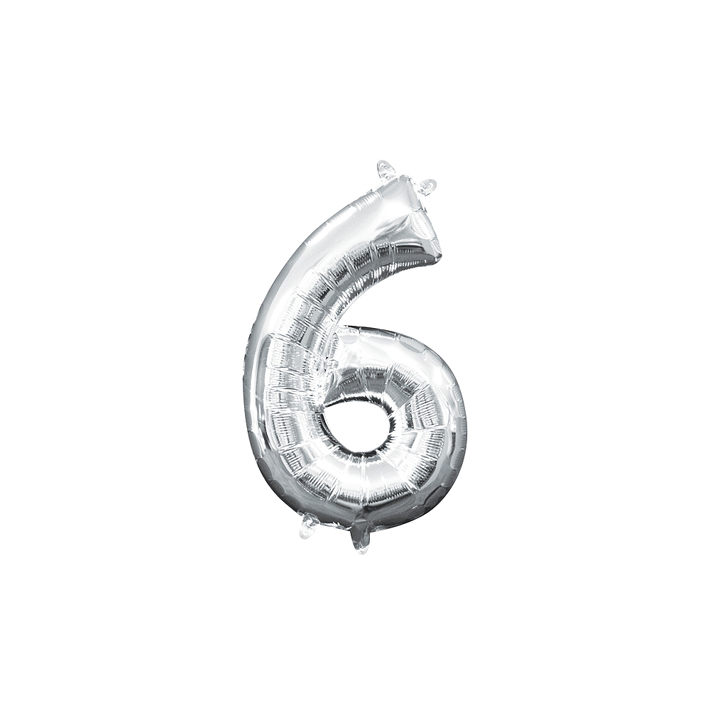 13in Air-Filled Silver Number Balloon (6) Image #1