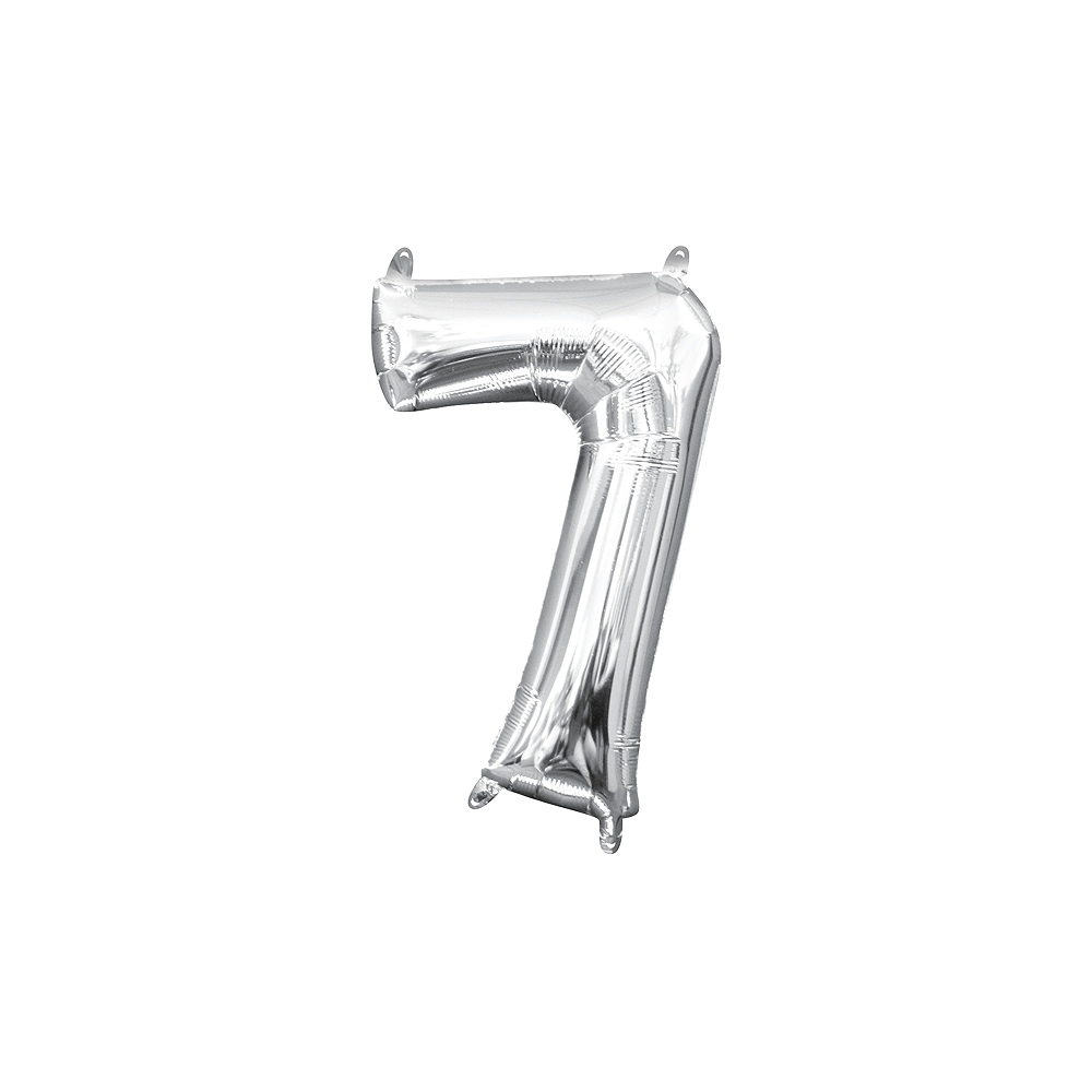 13in Air-Filled Silver Number Balloon (7) Image #1