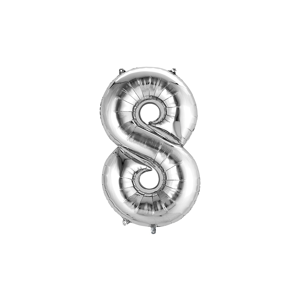 13in Air-Filled Silver Number Balloon (8) Image #1