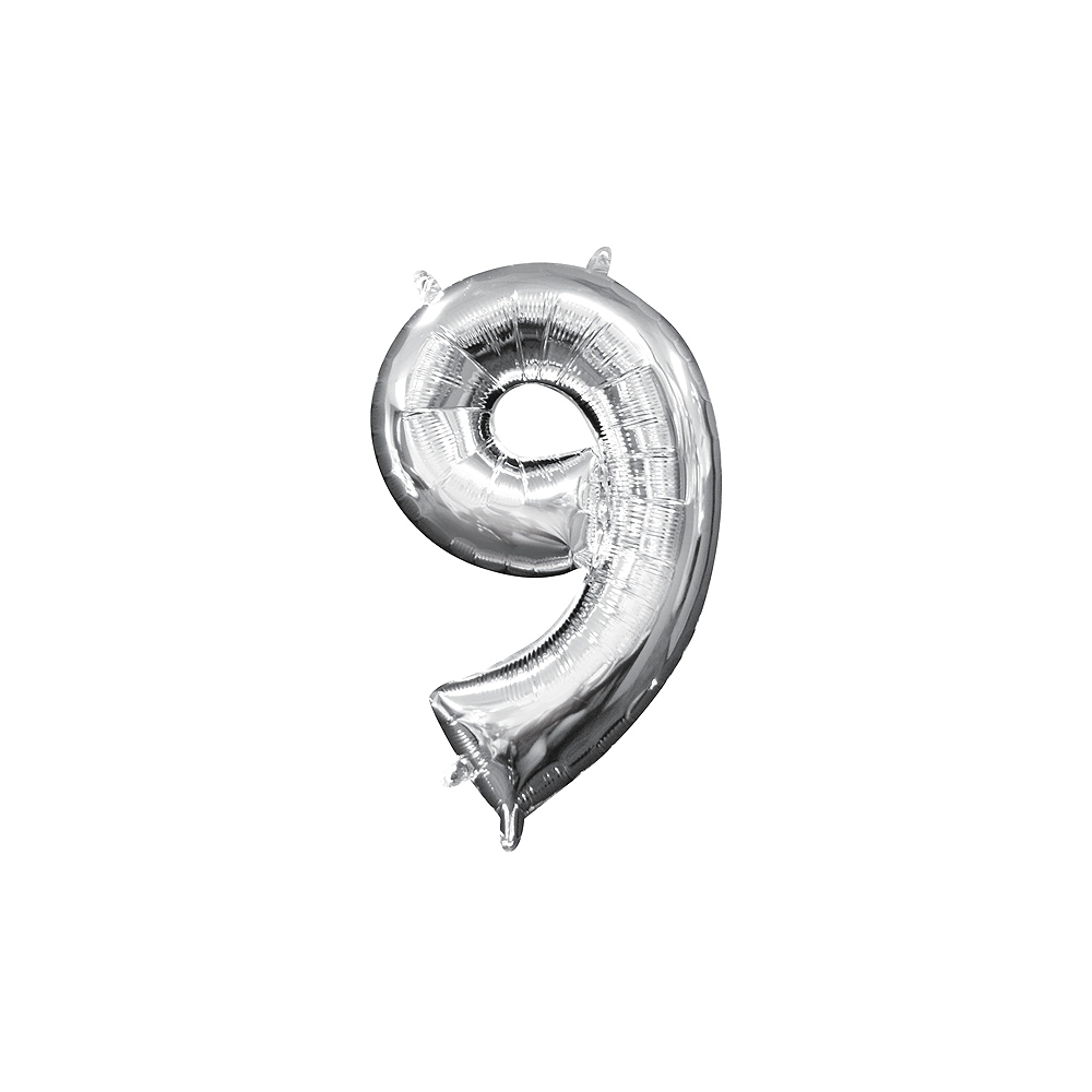 13in Air-Filled Silver Number Balloon (9) Image #1