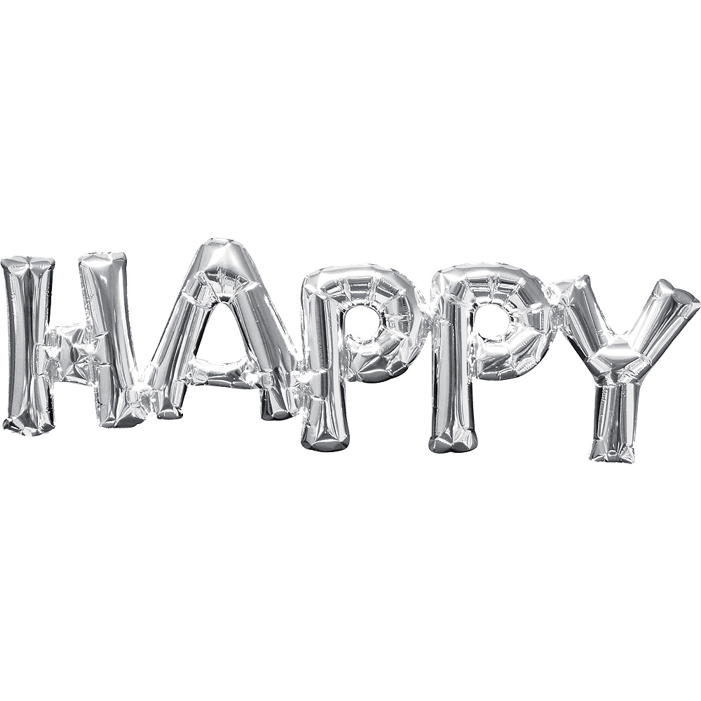 Air-Filled Silver Happy Letter Balloon Banner, 10in Image #1