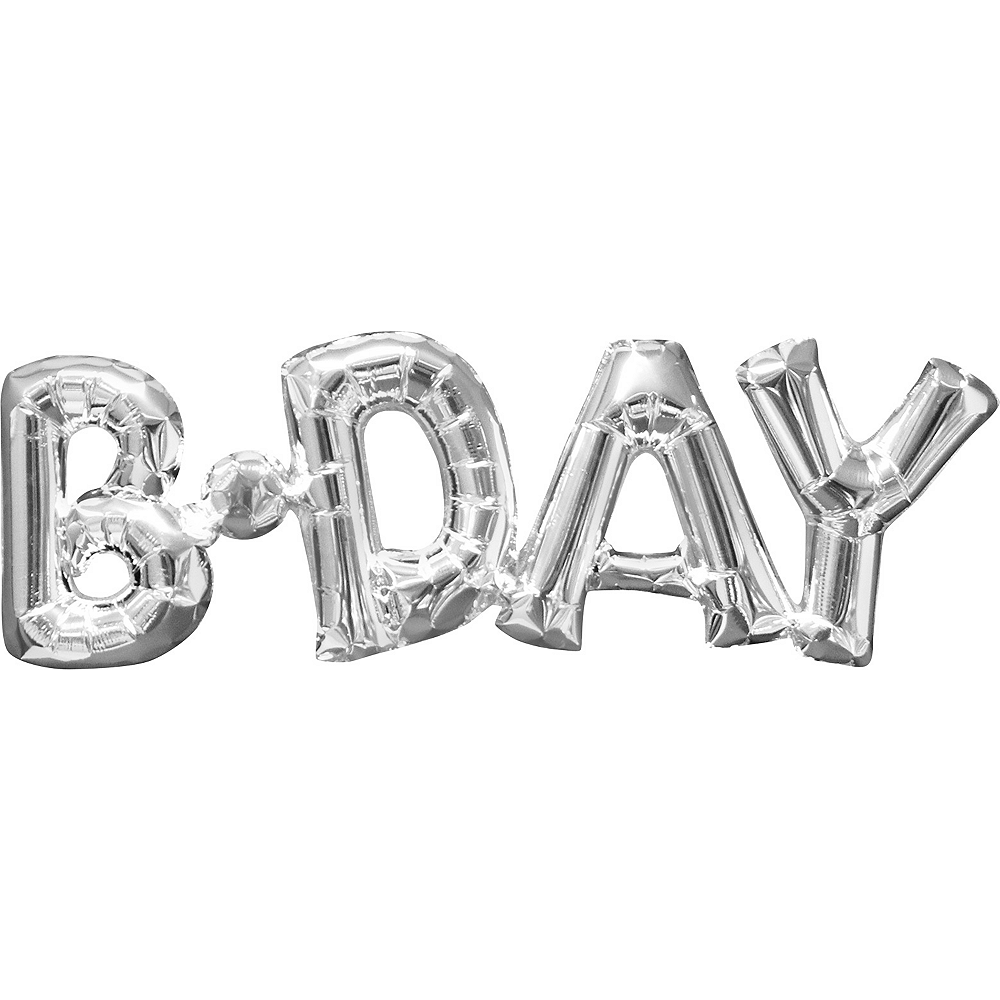 Air-Filled Silver B-Day Letter Balloon Banner, 9in Image #1